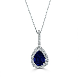 Auriya 18k White Gold 1 1/3ct Blue Sapphire and 1/3ct TDW Diamond Halo Necklace