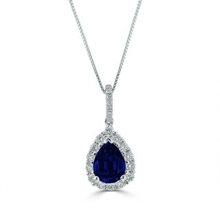 18k Gold Pear Shaped 1 1/3ct Royal Blue Sapphire and 1/3ct TDW Diamond Halo Necklace by Auriya