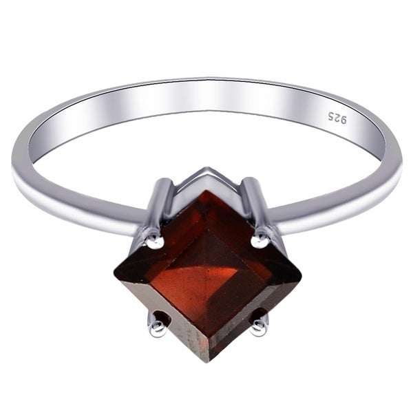Jewellery 1.3 ct 925 Sterling Silver And 14k Gold Garnet Engagement Ring Size 6