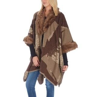 Womens Poncho Cape Abstract Faux Fur-Trim Winter Lady Shawl Scarf Wrap