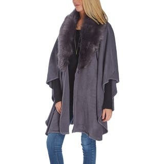 Faux Fur-Trim Shawl Long Cape Wrap Poncho Warm Winter Wear Women Scarf