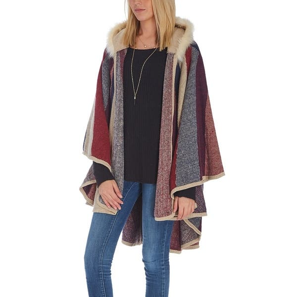 e6be85582824 Navy Stripe Faux Fur Hooded Ruana Winter Women Shawls Wrap Poncho Cape ...