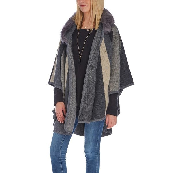 df3c13bc7d3e ... Navy Stripe Faux Fur Hooded Ruana Winter Women Shawls Wrap Poncho Cape  ...