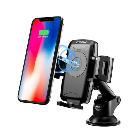 Mpow Dashboard/Windshield Car Mount, Qi Fast Wireless Charger, with Car Charger and Suction Cup Pad