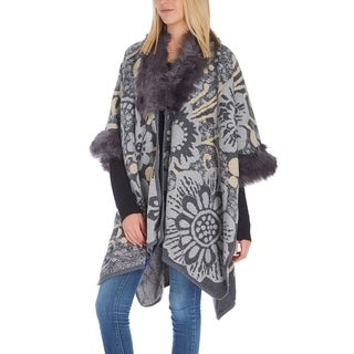 Women Floral Faux Fur-Trim Soft Shawl Wrap Winter Poncho Cape Cardigan