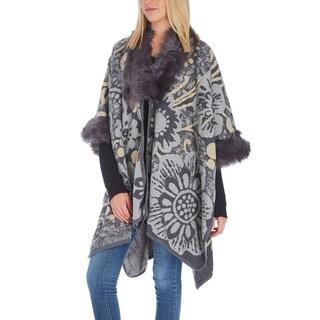 Women Floral Faux Fur-Trim Soft Shawl Wrap Winter Poncho Cape Cardigan