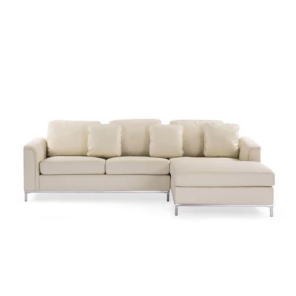 Madrid Taupe Beige Ultra Modern Living Room Furniture 3: Shop Sectional Sofa L Beige Leather OSLO