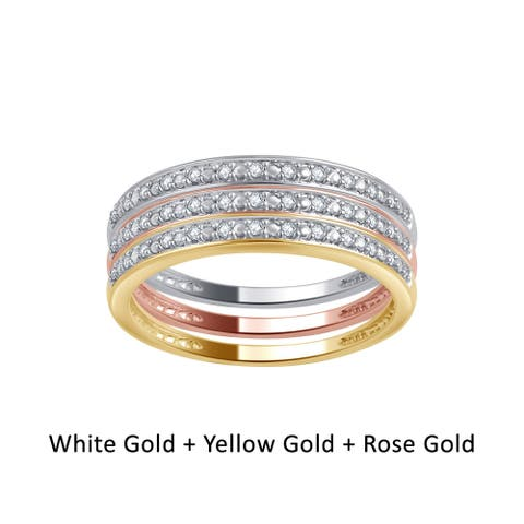 Divina 10KT Gold 1/10ct TDW Diamond 3-Piece Wedding Band Set