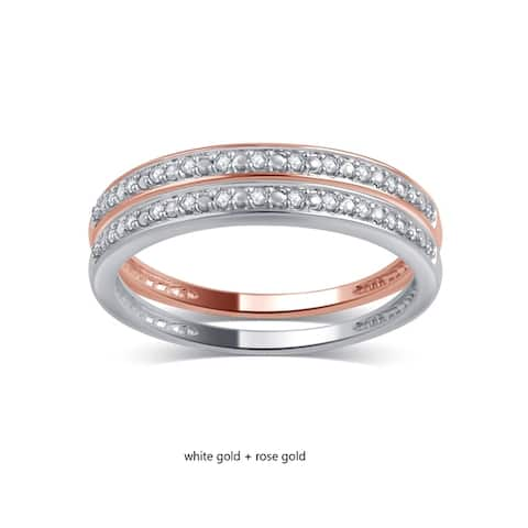 Divina 10KT Gold 0.06ct TDW Diamond 2-Piece Stackable Wedding Band Set