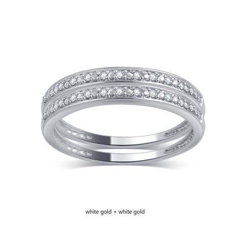 Divina 10KT Gold 0.06ct TDW Diamond 2-Piece Stackable Wedding Band Set