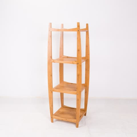 NewRidge Home Natural Bamboo Tower Shelf
