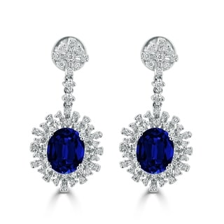 Auriya Fancy 7 5/8ct Blue Sapphire Oval and 1 1/3ctw Diamond Halo Dangle Earrings 18k Gold