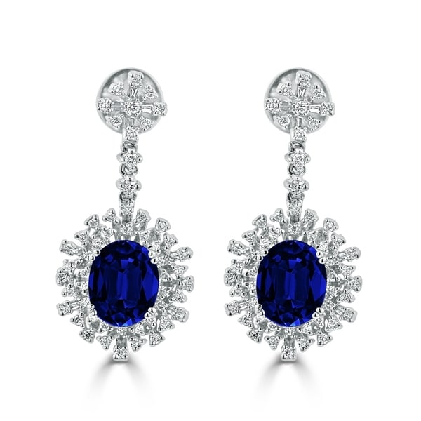 54 8ct sapphire dangle earrings 18 kt gold shop auriya fancy 7 5 8ct blue sapphire oval and 1 1 3ctw