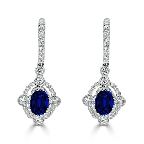 Auriya Vintage Inspired 2ct Blue Sapphire Oval and 7/8ct Diamond Halo Dangle Earrings 18k Gold