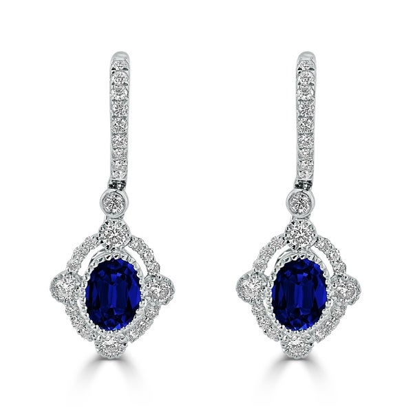 54 8ct sapphire dangle earrings 18 kt gold shop auriya vintage inspired 2ct blue sapphire oval and 7