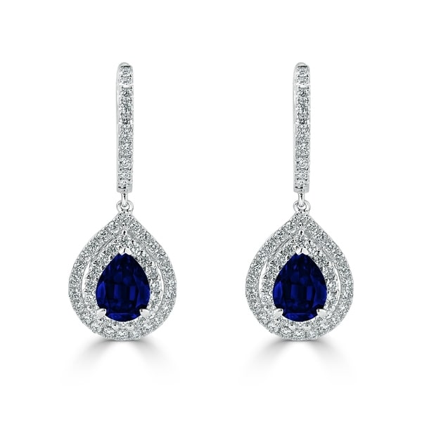54 8ct sapphire dangle earrings 18 kt gold shop auriya fancy teardrop 2 5 8ct blue sapphire and 1