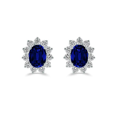 Auriya Iconic 3ct Royal Blue Sapphire Oval and 1 1/4ct Diamond Halo Stud Earrings 18k Gold
