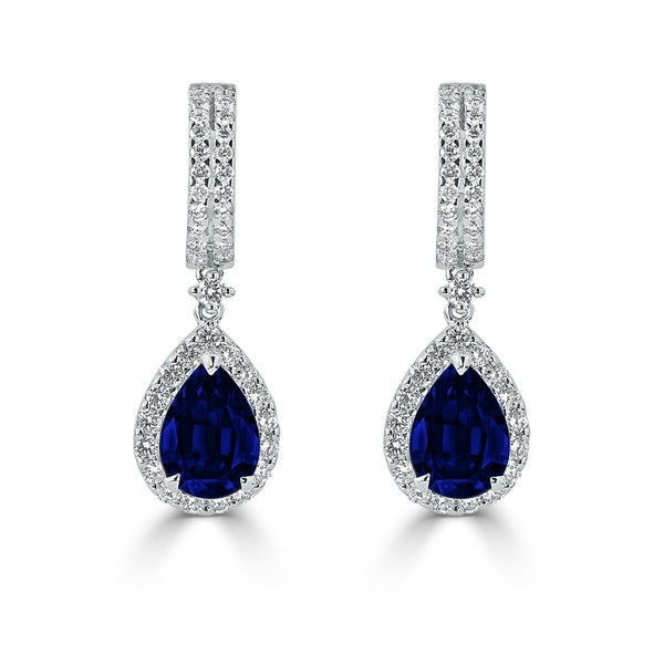 54 8ct sapphire dangle earrings 18 kt gold shop auriya fancy teardrop 3 9 10ct blue sapphire and 1 1