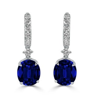 Auriya Fancy 13 7/8ct Blue Sapphire Oval and 1 1/4ctw Diamond Dangle Earrings 18k White Gold