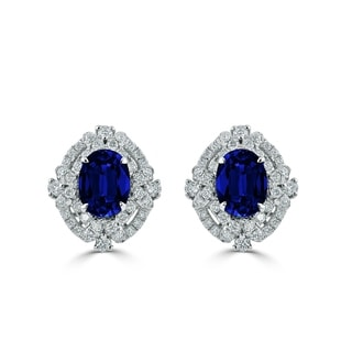 Auriya 18k White Gold 3 1/5ct Blue Sapphire and 5/8ct Diamond Halo Earrings
