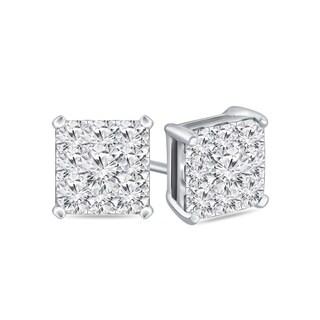 14k Gold Square 1/2ct TDW Pave Diamond Stud Earrings by Auriya