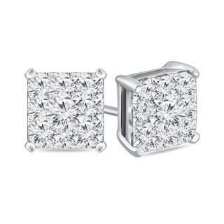 14k Gold Square 1 1/2ct TDW Pave Diamond Stud Earrings by Auriya