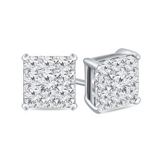 14k Gold Square 1ct TDW Pave Diamond Stud Earrings by Auriya