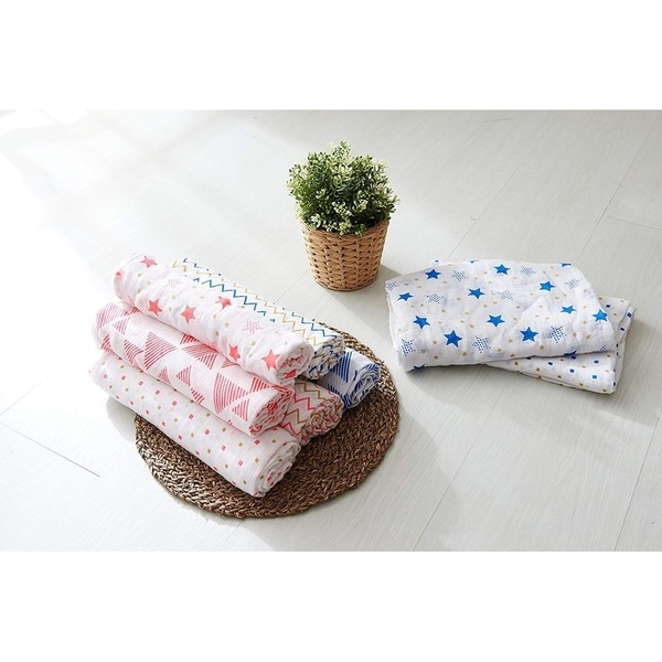 b6af4e2003bd Shop Elegant Comfort Luxury 4-Pack Swaddle Baby Blanket 100% Organic ...