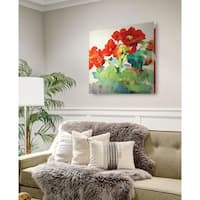 Begonia I -Gallery Wrapped Canvas - yellow, blue, green, red, black, white
