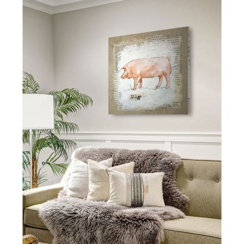 Burlap Pig -Gallery Wrapped Canvas - yellow, blue, green, red, black, white