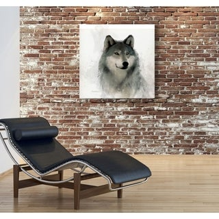 Rainsoft Wolf -Gallery Wrapped Canvas - yellow, blue, green, red, black, white