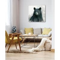 Rainsoft Bear -Gallery Wrapped Canvas - yellow, blue, green, red, black, white