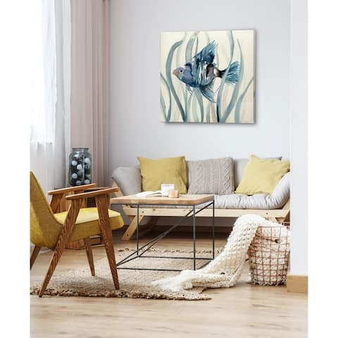 Fish in Seagrass II -Gallery Wrapped Canvas - yellow, blue, green, red, black, white