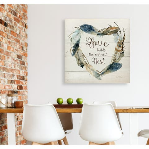 Feather Love Nest -Gallery Wrapped Canvas - yellow, blue, green, red, black, white