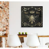 Royal Honey Bee I -Gallery Wrapped Canvas - yellow, blue, green, red, black, white