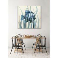 Fish in Seagrass I -Gallery Wrapped Canvas - yellow, blue, green, red, black, white
