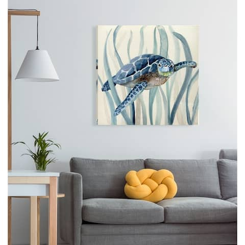 Turtle in Seagrass I -Gallery Wrapped Canvas - yellow, blue, green, red, black, white