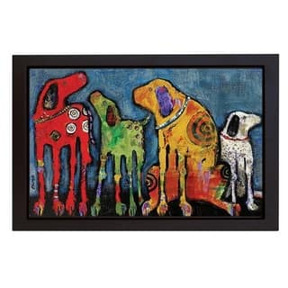 Best Friends by Jenny Foster Black Floater Framed Canvas Giclee Art (18 in x 26 in, Ready to Hang)