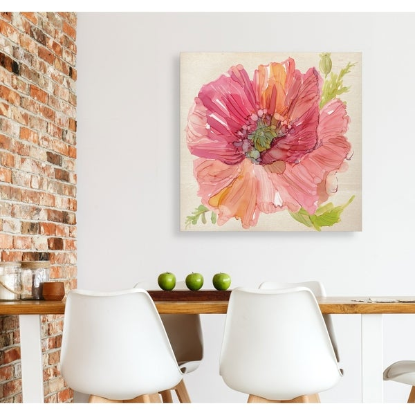 Botanical Poppy -Gallery Wrapped Canvas - yellow, blue, green, red, black, white