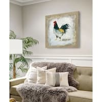 Burlap Rooster -Gallery Wrapped Canvas - yellow, blue, green, red, black, white