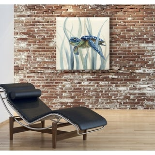 Turtle in Seagrass II -Gallery Wrapped Canvas - yellow, blue, green, red, black, white