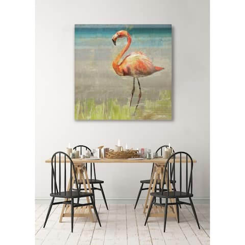 Flamingo Fancy II -Gallery Wrapped Canvas - yellow, blue, green, red, black, white