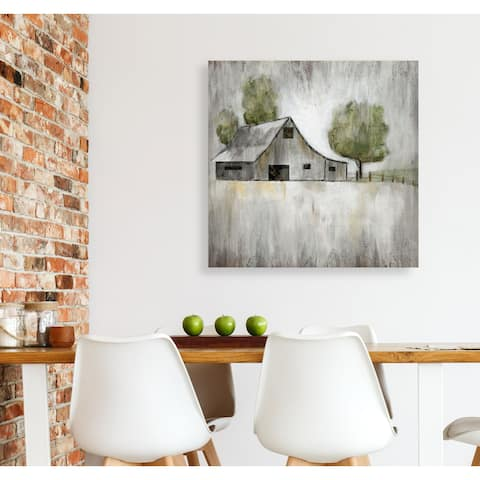 Weathered Barn -Gallery Wrapped Canvas - yellow, blue, green, red, black, white