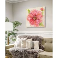 Botanical Peony -Gallery Wrapped Canvas - yellow, blue, green, red, black, white