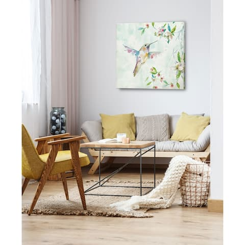 Hummingbird I -Gallery Wrapped Canvas - yellow, blue, green, red, black, white