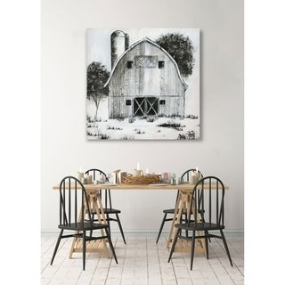 Black & White Barn I -Gallery Wrapped Canvas - yellow, blue, green, red, black, white