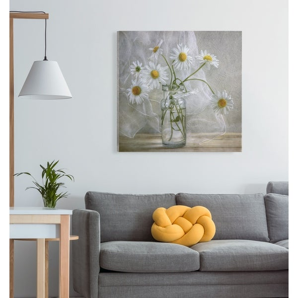 Daisies -Gallery Wrapped Canvas - yellow, blue, green, red, black, white