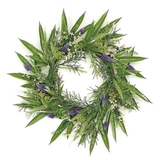 """24"""" Country chic grape hyacinth and fennel seed leaf wreath"""