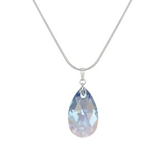 Handmade Jewelry by Dawn Sapphire Blue Aurora Borealis Crystal Teardrop Sterling Silver Snake Chain Necklace (USA)