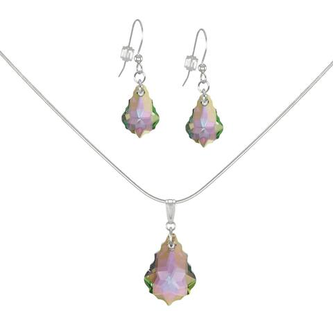 Handmade Jewelry by Dawn Crystal Purple Aurora Borealis Baroque Sterling Silver Necklace and Earring Set (USA)